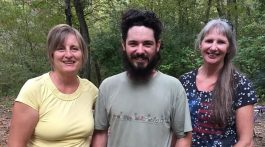 Becki, Jared and Paula enjoy being near the little spring at Noblett Lake, Missouri.