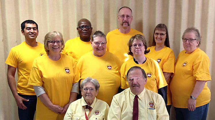 Dakotans are committed to preparing for disasters. Those attending the ACS DR class last fall were (back row, l-r) Christian Ronalds; Christian Harris, Sr; Terry Pflugrad; Marie Pflugrad; Charlene Schrock; (center row) Terri Krovoza; Diana Scarr and Gerry Forbes.   Six were new to the program and two were reviewing. Instructors Phyllis Alexander and Bob Forbes are seated. Photo courtesy Dakota Conference.