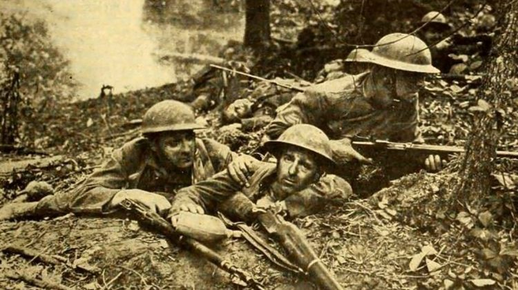 Still from the American war film The Lost Battalion (1919). Men who fought with the 77th Infantry Division in France acted in the film. Photo courtesy Wikipedia Commons.