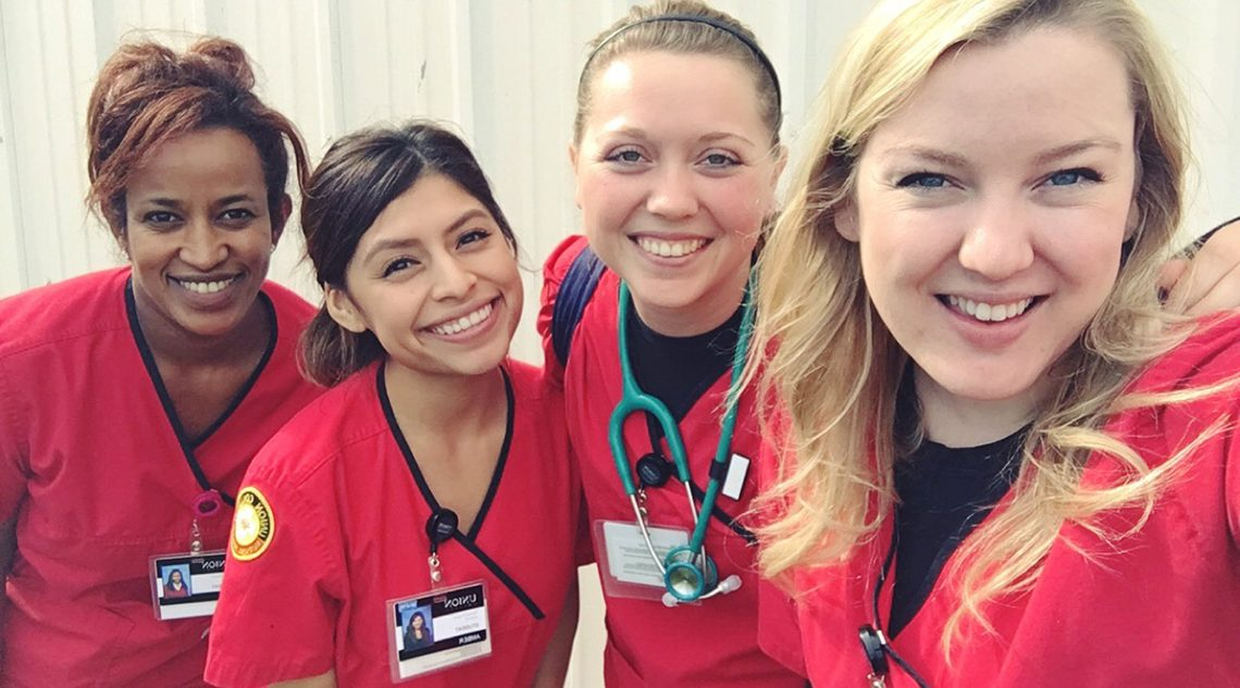 Amber Alas (second from left) is set to start her dream job in the NICU at Loma Linda University Children's Hospital, graduating from Union in December and passing the national nursing licensure exam on the first try along with the rest of her class including Eden Wodajo, Stephanie Rubenthaler and Emily Carlson. Photo courtesy Amber Alas.