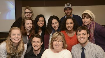 The Union College public relations principals class taught by Pat Maxwell (front, center) provided PR services to three Lincoln nonprofit organizations—Stefani Leeper, Anthony Gann, Kristi Tucker, Rachel Lozano, Heidi Maijub, Aria Bodden, Misha Darcy, Roxy Peterson, Michael Brautigan and David Deemer. Photo by Steve Nazario.