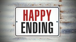 "A sign that says ""Happy Ending."""