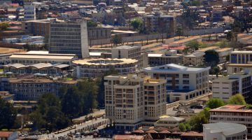 Antananarivo, Madagascar: government buildings from above