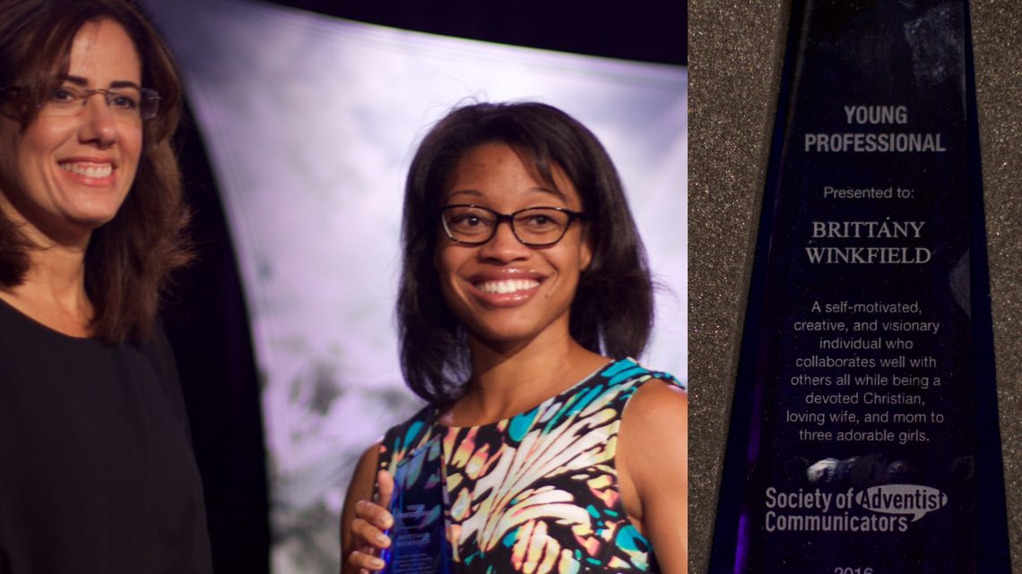 Brittany Winkfield, Communication Director for the Central States Conference, receiving the Young Professional of the Year Award at the Society of Adventist Communicators convention held in Denver, Colorado.