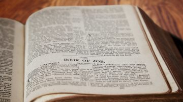 King James Bible Book of Job on Rustic Wooden Background