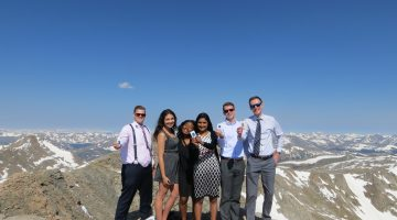 These young business interns and residents are enjoying the view from Mt. Evans at 14,265 feet on the Front Range of the Rocky Mountains. From left: Derek Fast*, Bree Samani, Karina Lee-Waye*, Sameera Sidgel*, Jordan Couch and Andrii Korchuk. *Union College students. Photo: Stephanie Lampson for Centura Health.