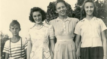 Eldon, Lois, Arlene, and Ruth Morris about the time they joined the Seventh-day Adventist church as a result of the witness of Edith Cross.