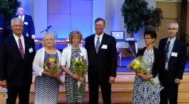 Ed Barnett, Eric Nelson, and George Crumley, pictured with their spouses, were re-elected to lead the Rocky Mountain Conference for the next quinquennium.